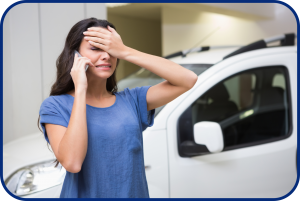 Upset Woman at Car Dealership