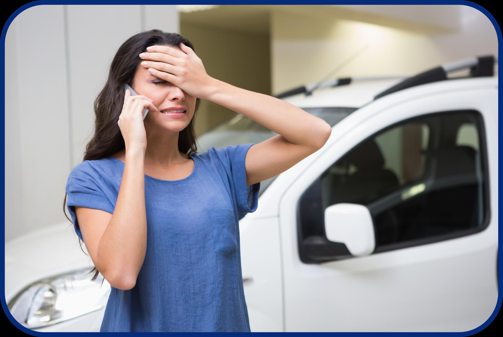 Upset Woman at Car Dealership